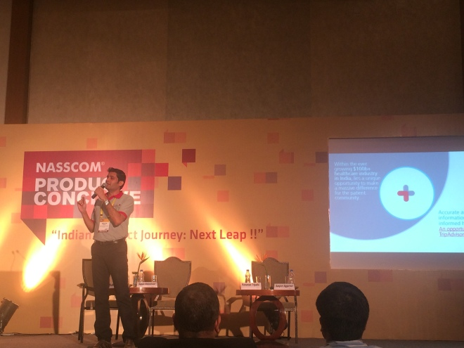 Mitesh Bohra, founder and CEO, Savetime Technologies making a presentation about how Savetime works